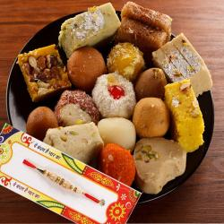 Express Delivery of Rakhi with 500 Gms Mix Sweet Box