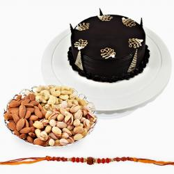 Fancy Rakhi with Dryfruits and Chocolate Cake