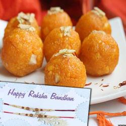 Fancy Rakhi with Motichur Ladoo
