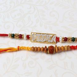 Fascinating Veera and Rudraksha Beads Rakhi Combo