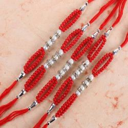 Fashionable Five Colorful Pearl with Diamond Ring Rakhi