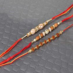 Fashionable Set of Three Beads Rakhi