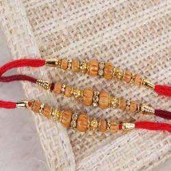 Fashionable Wooden Beads Triple Rakhi Sets