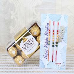 Ferrero Rocher Chocolate with Set of Three Rakhi