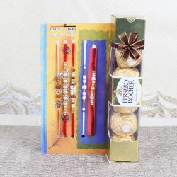 Ferrero Rocher Chocolates with Five Rakhis Online