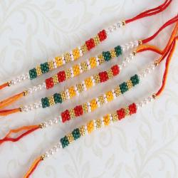 Five Colorful Tiny Beads Rakhi Set