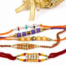 Five Decorative Diamond Rakhi Combo