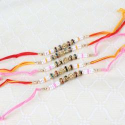 Five Diamond and Beads Rakhi