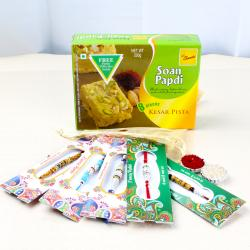 Five Exclusive Rakhis with Soan Papdi