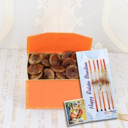 Five Rakhi with Fig Dry Fruits Box