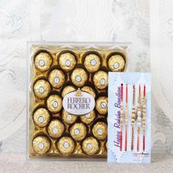 Five Set Rakhis with Ferrero Rocher Chocolate Box