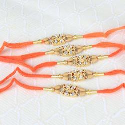 Five Shiny Diamond Dial Rakhi