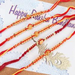 Five Wooden Striking Beads Rakhi