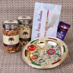 Floral Designer Rakhi Thali with Dry Fruits and Chocolates