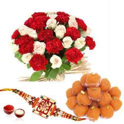 Flower Bouquet with Motichoor ladoo and Rakhi