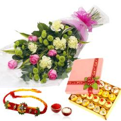 Flower Bouquet with Sweet and Rakhi