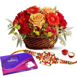 Flowers and Cadbury Celebration Pack with Rakhi