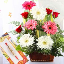 Flowers Arrangement with Attractive Rakhi