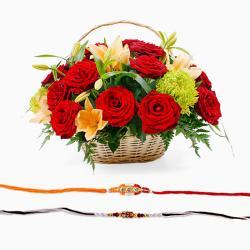 Flowers Basket Arrangement with Rakhi