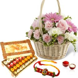 Flowers Basket with Sweet Box and Rakhi