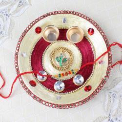 Ganesha Mukh Diamond Designer Puja Thali with Rakhi - Australia