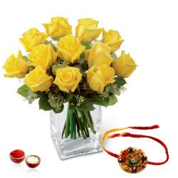 Glass vase of Yellow Roses with Rakhi