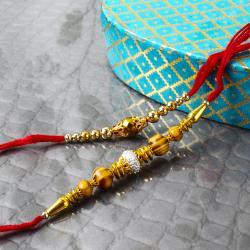 Golden Beads Rakhi with Wooden Beads Rakhi