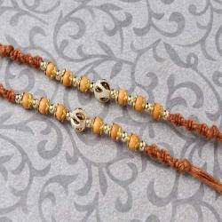 Gorgeous Twin Wooden Beads Rakhi