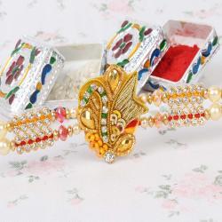 Gorgeous Zardosi Design Rakhi for Bhai