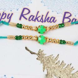 Green Stone Set of Two Rakhis