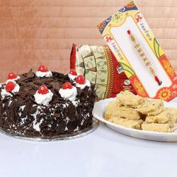 Half Kg Black Forest Cake with 500 Gms Soan Papdi and Rakhi