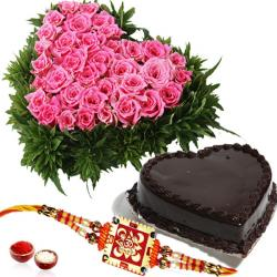 Heartshape Cake and Roses with Rakhi for Brother