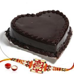 Heartshape Chocolate Cake and Rakhi