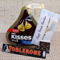 Hershey's Kisses and Toblerone Chocolate with Tiny Pearl Rakhi