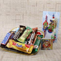 Imported Chocolates Tray with Zardosi Bhaiya Bhabhi Rakhi