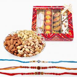 Kaju Katli Sweets with Rakhi and Dry Fruits