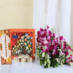 Kaju Katli with Rakhi and Orchids Bouquet