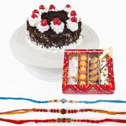 Kaju Sweets with Rakhi and Cake