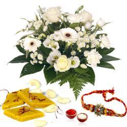 Kesar Kaju Katli with White Flowers and Rakhi