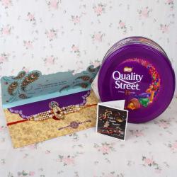 Kundan Designer Rakhi with Quality Street Chocolate