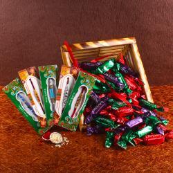 Laveno Chocolate with 5 Set of Beads Rakhi
