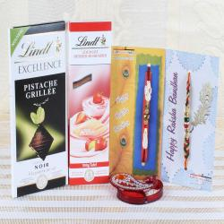 Lindt Chocolate Bar with Two Charming Rakhi Hamper