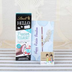 Lindt Hello Chocolate with Designer Beads Rakhi