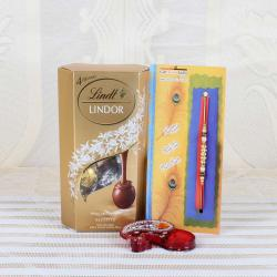 Lindt Lindor Assorted Chocolate with Pearl Beads Rakhi - UK