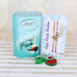 Lindt Lindor Coconut Chocolate with Designer Beads Rakhi - UK