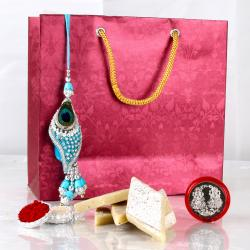 Lumba Rakhi with Kaju Sweet For Bhabhi