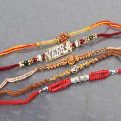 Luminous Pack of Five Studded Beads Rakhi