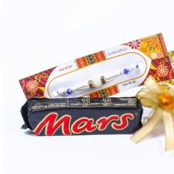 Mars Chocolate Bar with Pearl Rhinestone Beads Rakhi