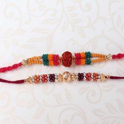 Marvellous Two Colorful Beads Rakhi