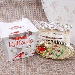 Mini Designer Rakhi Thali with Raffaello Chocolate